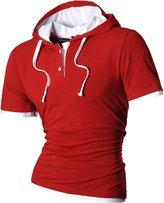 jeansian Mens Casual Sport Short Sleeves Hoodie T-Shirt Tops U006 M