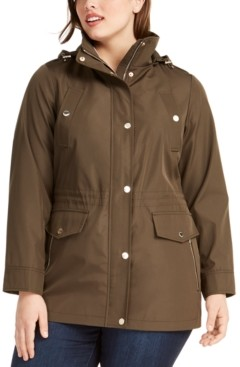 Michael Kors Michael Plus Size Water-Resistant Hooded Anorak Jacket