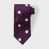 Paul Smith Men's Violet Silk Tie With Off-White Polka Dots