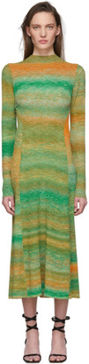 Tibi Green and Orange Space Dyed Sweater Dress
