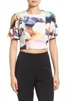 KENDALL + KYLIE Women's Graphic Ruffle Sleeve Crop Top