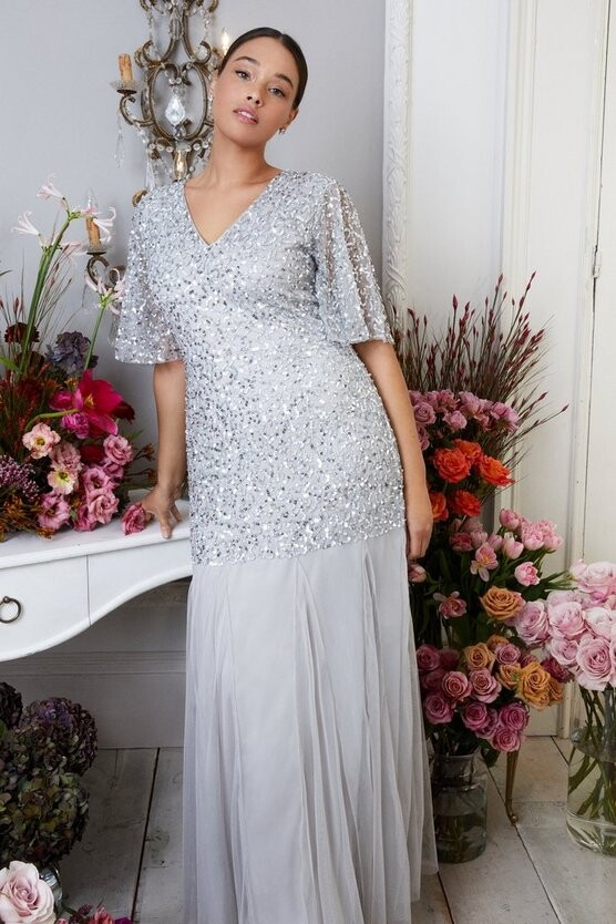 Thumbnail for your product : Coast Curve Sequin Angel Sleeve Maxi Dress