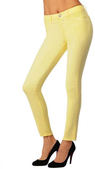 J Brand 811 Mid-Rise Skinny Leg in Bright Yellow