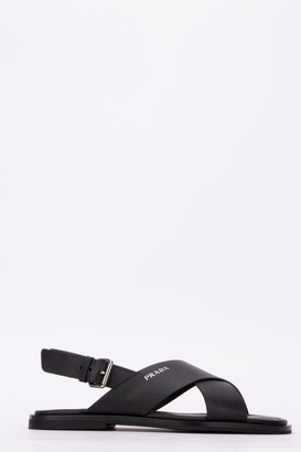 Prada Crossover Logo Sandals