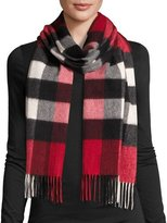 Burberry Half Mega Check Cashmere Scarf, Parade Red