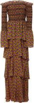 A.L.C. Amalia Off-The-Shoulder Smocked Silk Maxi Dress