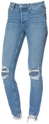 Paige Vintage Hoxton Ankle Peg Distressed Raw Hem Skinny Jeans
