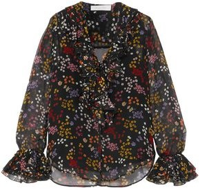 See by Chloe Floral-print Metallic Fil Coupe Silk-georgette Blouse