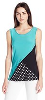 Star Vixen Women's Sleeveless Colorblock Print and Solid Top