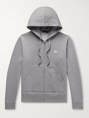 Acne Studios Logo-Appliqued Melange Fleece-Back Cotton-Jersey Zip-Up Hoodie
