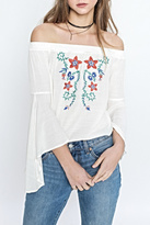 Flying Tomato Flower Embroidered Top