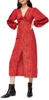 Topshop Animal Print Long Sleeve Maxi Dress