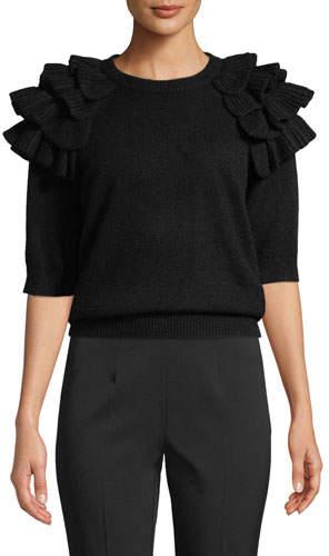 Michael Kors Ruffled Elbow-Sleeve Crewneck Cashmere Sweater