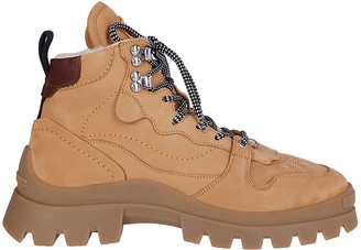 DSQUARED2 Camel Leather Hiking Boots