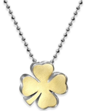 """Alex Woo Lucky Clover 16"""" Pendant Necklace in Sterling Silver & 18k Gold-Plate"""