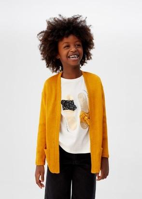 MANGO Fine-knit cardigan mustard - 5 - Kids