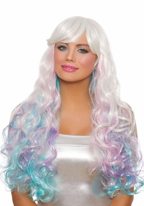 Dreamgirl Women's Long Wavy Layered White/Pink/Lavender/Light Blue Wig