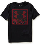 Under Armour Big Boys 8-20 Striped-Logo-Graphic Solid Short-Sleeve Tee