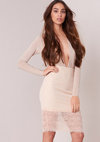 Missy Empire Tutti Beige Lace Hem Bodycon Midi Skirt
