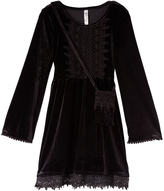 Beautees Black Bell-Sleeve Dress & Crossbody Bag - Girls