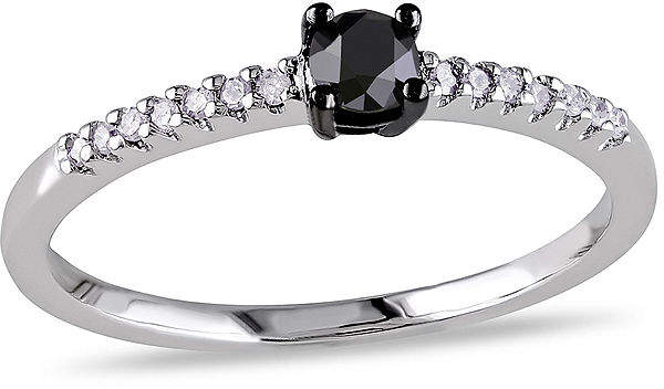 Black Diamond MODERN BRIDE 1/4 C.T. T.W. White and Color-Enhanced 10K White Gold Promise Ring