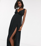 Asos DESIGN MATERNITY tie back beach maxi dress with twist front detail in black