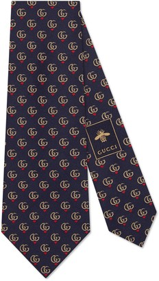 Gucci Double G and hearts silk tie