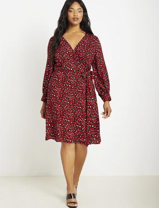 ELOQUII Long Sleeve Wrap Dress