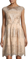 Kay Unger New York Embroidered Tulle Fit & Flare Dress, Mocha
