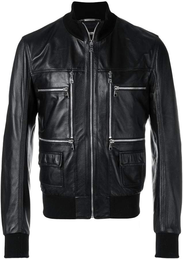 Dolce & Gabbana zip front leather jacket
