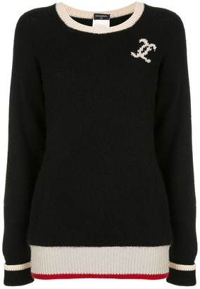Chanel Pre Owned CC logo long sleeve cashmere sweater