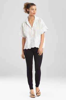 Natori Embroidered Voile T-Shirt Top