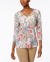 Charter Club Petite Floral-Print Split-Back Top, Only at Macy's