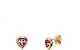 Sweet & Soft Gold & Pink Crystal Heart Stud Earrings