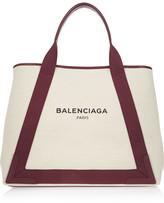 Balenciaga Leather-trimmed Canvas Tote - Off-white
