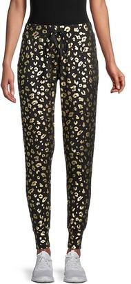 Terez Metallic Cheetah-Print Jogging Pants