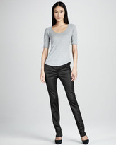 Liverpool Abby-Skinny Leather-Coated Jeans, Black