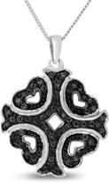 Ice 1/3 CT TW Black Diamond Polished Sterling Silver Heart Pendant