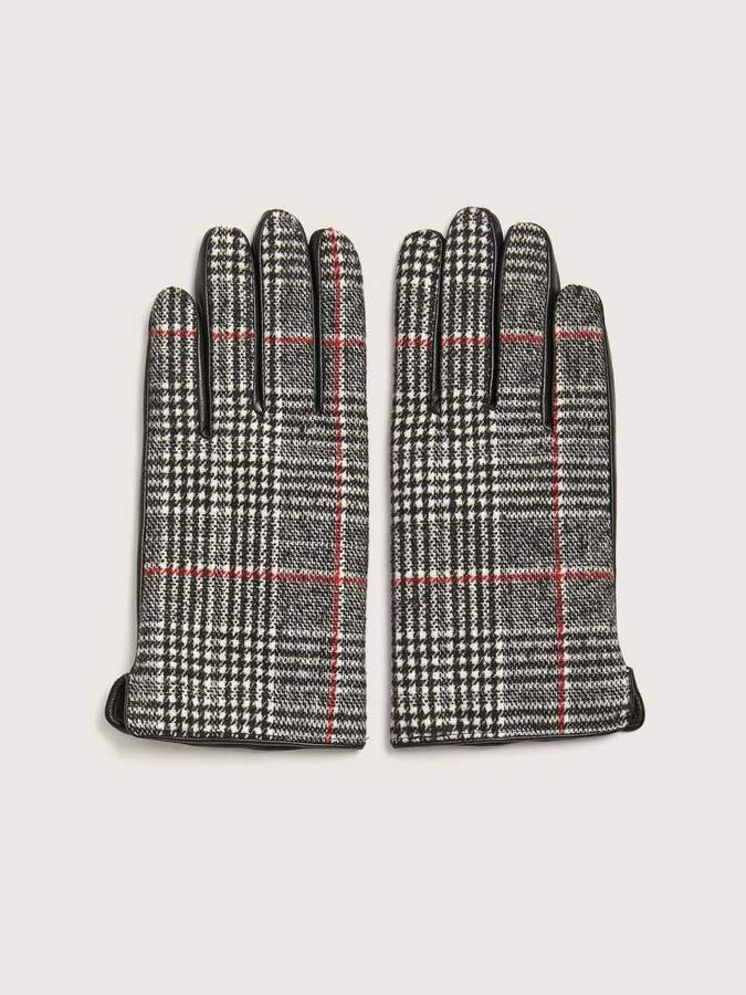 Addition Elle Plaid and Leather Mix Media Gloves