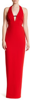 ABS by Allen Schwartz Deep V-Neck Halter Side Cutout Dress