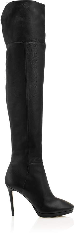 Jimmy Choo HAYLEY 100 Black Grainy Calf Leather Over-The-Knee Boots