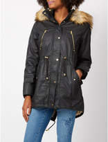 George Wax-Effect Parka With Faux Fur Trim