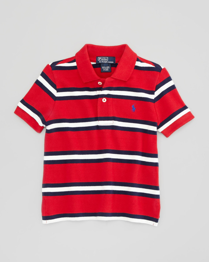 Ralph Lauren Short-Sleeve Striped Mesh Polo Shirt, Compass Red, 2T-3T