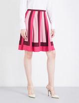 Valentino Tri-tone mid-rise pleated skirt