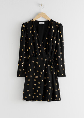 And other stories Metallic Coin Print Mini Wrap Dress