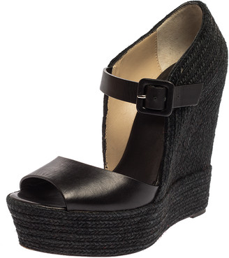 Christian Louboutin Black Leather And Jute Praia Wedge Espadrille Platform Ankle Strap Sandals Size 39