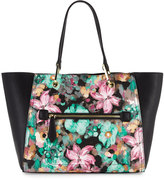 Neiman Marcus Oval-Ring Small Tote Bag, Mint Floral/Black