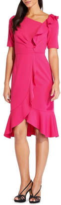 Adrianna Papell Draped Short Crepe Dress