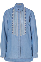 Ermanno Scervino Denim Blue Embroidered Cotton-Blend Tuxedo Shirt