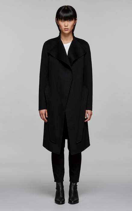 Mackage LEORA Long wool jacket with stand collar and waterfall front